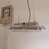 Authentieke industriële hanglamp, vintage designlamp, ook wel U-Boot genoemd. Deze lamp is voorzien van DIMBARE LED lampen in 'warm wit', en nieuw bekabeld.